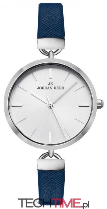 c7e06ab933ebe Okrągły Damski Zegarek Jordan Kerr - Cienki Skórzany Pasek z Fakturą -  Symetryczna Tarcza - NIEBIESKI. Pełna galeria