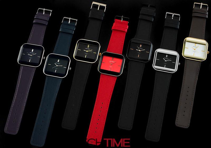 Stylowy Damski Zegarek Gino Rossi Duża Kwadratowa Tarcza Czerwony