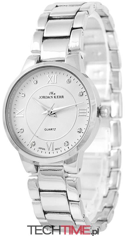 fe9a55a4ad606d ... Delikatny Damski Zegarek Jordan Kerr Na Połyskującej Srebrnej  Bransolecie - Rzymskie Cyfry + Cyrkonie. Pełna galeria