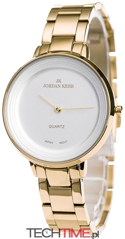 Minimalistyczny Zegarek Damski Jordan Kerr Na Bransolecie w Kolorze Złotym Prosta Biała Tarcza Bez Sekundnika