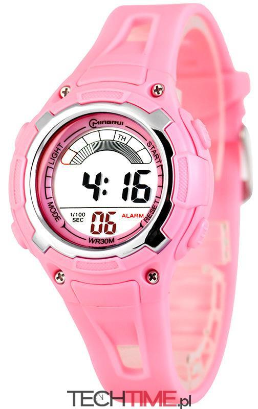 2d513cec81c5ff Mingrui - Zegarek Sportowy Elektorniczny - RÓŻOWY - TechTime